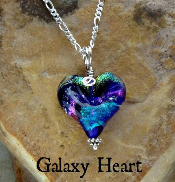 "Memorial Blown Glass Heart Necklace on Sterling Silver 18"" chain"