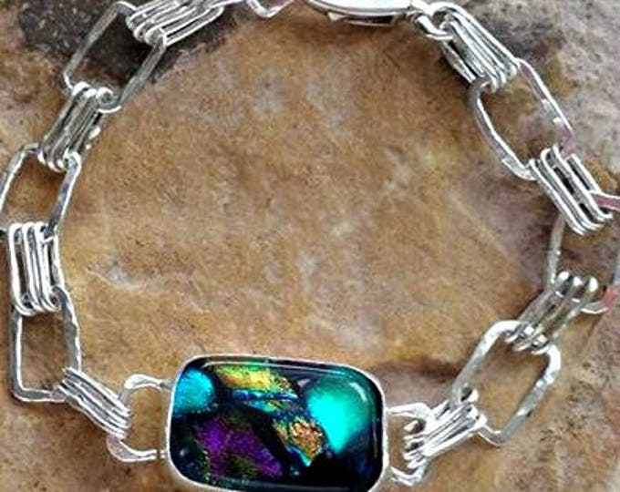 Aurora Triple Love Link Memorial Bracelet in Sterling Silver,Ashes in Glass, Cremation Jewelry, Pet Urn