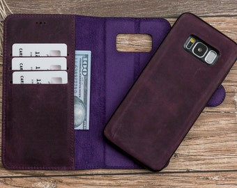 Purple Wallet Case for Galaxy S8, Leather Wallet Case For Galaxy S8, Wallet Case For Galaxy S8, Wallet Case for Samsung S8, Case for S8#POLİ