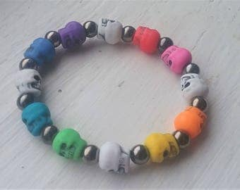 Rainbow Skull Stretch Bracelet