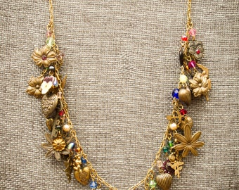 Vintage Brass Necklace Loaded With Charms