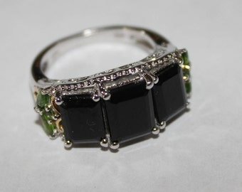 Platinum & Gold over Sterling Multi Gemstone Ring Size 7
