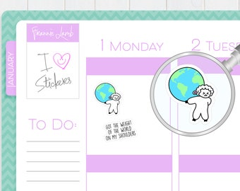 Lamb Weight of the World Stickers, Planner Stickers, Calendar Stickers, Small Kawaii Stickers, Icon Stickers, Labels
