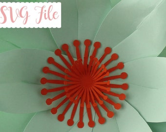 SVG Flower Center Template, Paper Flower Template, DIY Center Flower, Cricut and Silhouette Ready