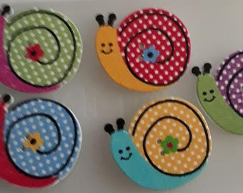 Smiley Snail Multi Coloured Wooden Buttons