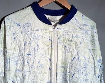 80s RARE Chart Wear Tyvek Map Jacket Sz Large XL Blue Wisconsin Minneapolis Green Bay Paperthin Windbreaker Air Space Aviation 1980s Retro