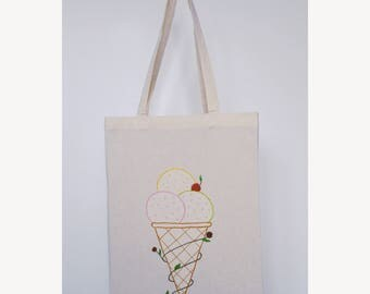 """Embroidered tote bag - """"Ice Cream"""""""