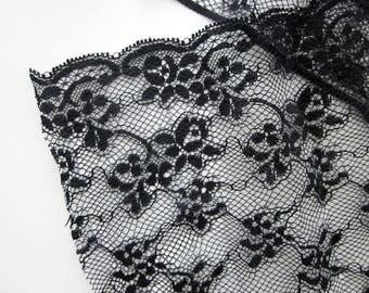 Black Floral Non-Stretch Lace