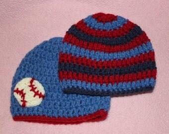 Baseball Newborn Baby Boy Crochet Hats Gift Set of 2 Denim Blue Red Navy Matching Baby Shower Gift