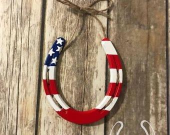 USA Flag Horseshoe