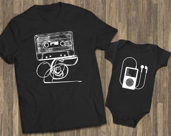 Father Son Baby | Dad Son Shirts | Cassette Ipod Shirts | Music Shirts |  Matching Dad Baby | Daddy Son Sets | Father Son Shirts | Dad Tee