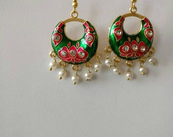 Boho dangle jhumka/Traditional Metal Chandbali Earring