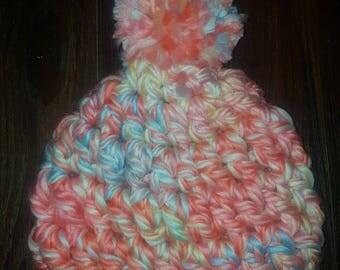 Chunky Crochet Pompom Hat