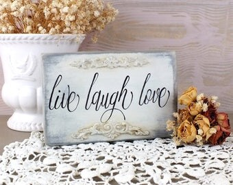 Live laugh love sign Small wedding table decoration French white wall art Vintage style love party decor Signage calligraphy Gift for bride