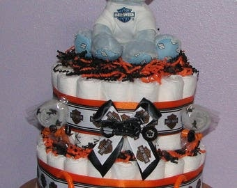 Harley Davidson Diaper Cake, Diaper Cake For Boys, Harley Davidson Baby  Shower, Motorcycle