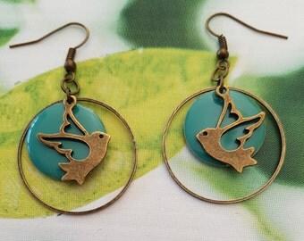turquoise bird earrings