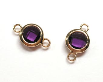 18x11mm Amethyst Glass Connector(Parallel),Glass Pendant, Jewelry Supplies, Gold Plated Brass, Tiny Charm, 2pcs