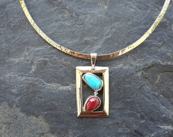 No.34  Ruby and Turquoise Pendant set in .950 Sterling Silver