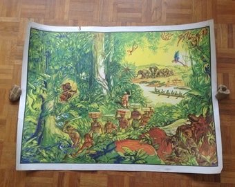 School poster geography - MDI - rice / in the rainforest - vintage