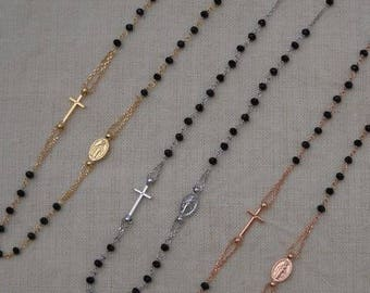 Rosary necklace - 925 silver - black beads - 3 colors