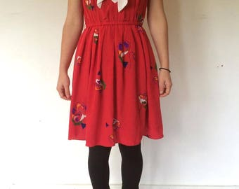 Sailor Collar Red Silky Dress with Floral Pattern XS-S