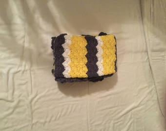 Crochet Baby Blanket-Travel/Stroller/Crib/Car Seat/Yellow-White-Denim/Denim Ruffle Border