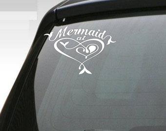 Mermaid at Heart  Car Vinyl Decal