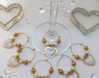 Wine Glass Charms - Wedding / Golden Wedding Anniversary