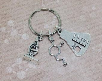 Dopamine Keychain, Molecule Keyring, Science Keychain, Chemistry Keyring, Microscope Keyring, Teachers Gift, Dopamine Molecule, Bag Charm
