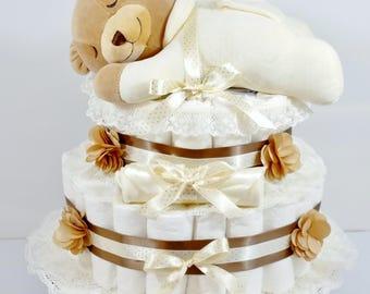 Slumber Bear Gender Neutral Baby Diaper Cake / Baby Shower Centerpiece