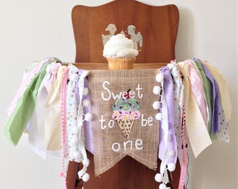 Sweet to be ONE first birthday high chair banner / cake smash photo shoot prop / party decor / cotton candy ice cream donut / girl birthday