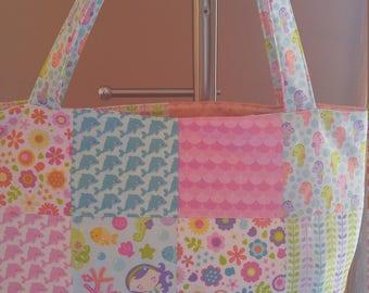 Quilted Tote Bag // Under The Sea by Doodlebug Designs, Mermaid, Seahorse, Girls, Large Pocket, Book bag, Diaper Bag, Toy Bag, Riley Blake