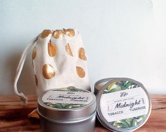 MIDNIGHT // Tobacco & Rose // 8oz. Candle Tin // Hand Poured // All Natural Soy Candle // Luxury // Valentine's Gift