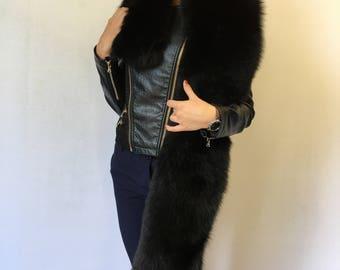 Black Fox Fur Stole 70 inch. (180cm) Saga Furs Boa Collar