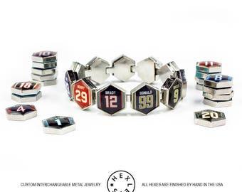 Custom Fantasy Football Jersey Bracelet - Silver - Interchangeable Artwork