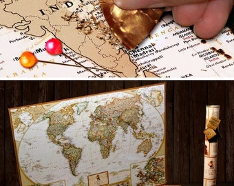 Scratch off Map - Scratch off Map with Push-Pins - World Scratch Off Map - Large Travel Map - Unique gift for friend - Gold Scratch off Map