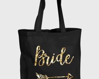 Bride Glitter Black Tote Bag for Hen Do