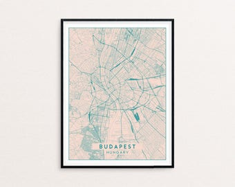 Budapest Blush Pink City Map Print, Clean Contemporary poster fit for Ikea frame 50x70cm, gift art him her, Anniversary personalized