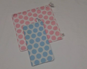 Bags for snack for children, pique with polka dot print, hand made