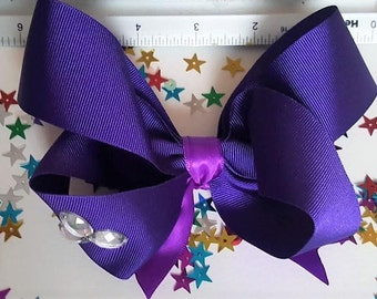 """Large Hair Bow 6"""" Clip with Gem Detail. Four Colours. Jo-Bow. Handmade & Strong"""