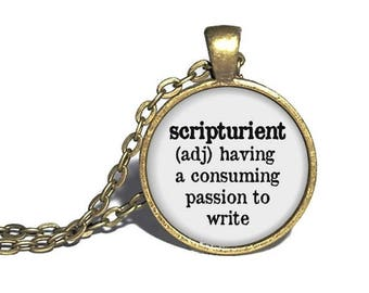 Scripturient Definition Necklace, Writer Necklace, Gift for Writer, Author Gift, Writer Jewelry, Writing Pendant