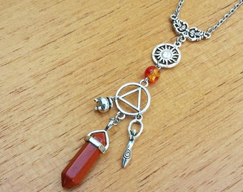 necklace element symbol fire pendulum red jasper gemstone quartz crystal point pointed silver alchemy sun goddess wicca pagan magic witch