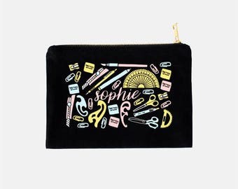 Monogram Cosmetic Bag, Black Cosmetic Bag, Personalized Teacher Appreciation Gifts, Math Teacher Gifts, Cute Makeup Bags, 9.5 x 7