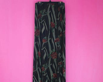 90s Shimmery Goth Roses Stretchy Maxi Skirt