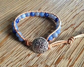 Beaded bracelet, leather bracelet, blue beaded bracelet, blue bracelet