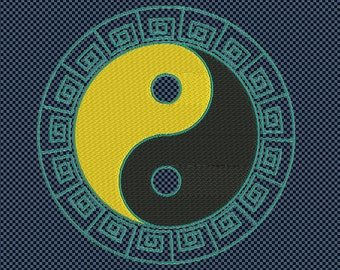 Embroidery ying yang oriental symbol