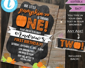 Pumpkin Birthday Invitation Fall Baby Invite- First Birthday Invitation Any Birthday- 1st One Chalkboard Printable 5x7 INSTANT Self-EDITABLE