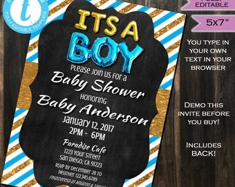 Its a Boy Baby Shower Invitation New Baby Sprinkle Invite Blue Gold Glitter Chalkboard Template Custom Printable INSTANT Self EDITABLE 5x7