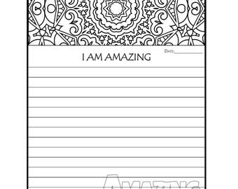 Journal Page - Printable Journal Pages - I AM Amazing Coloring Journal Page - Coloring Journal Pages - Gratitude Journal - Prayer Journal
