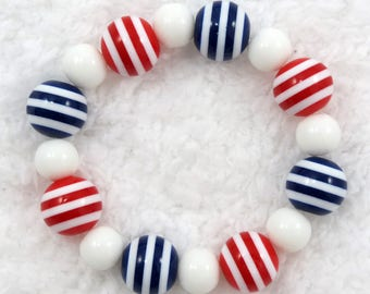 Red white and blue, nautical, Americanan bracelet